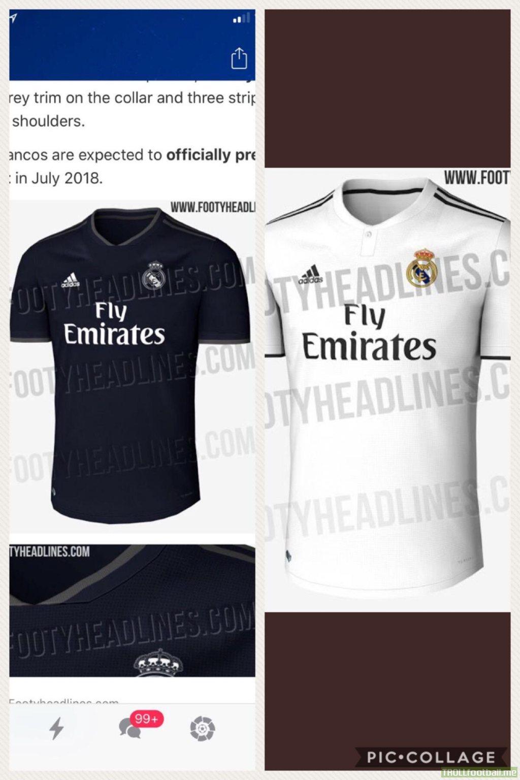 6f654e351 Real Madrid 18 19 Home   Away kits leaked