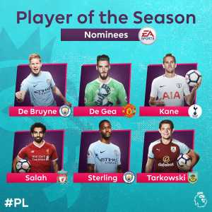 Premier League's Player of the Season Nominees: De Bruyne, De Gea, Kane, Salah, Sterling, Tarkowski