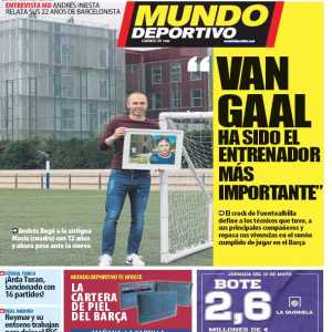 "Andres Iniesta has been speaking to Mundo Deportivo. Going over the most influential people and places in his career, Iniesta cited Louis van Gaal as his ""most important coach"""