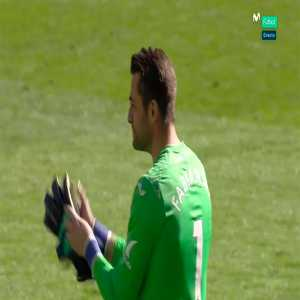 Swansea City goalkeeper Łukasz Fabiański in tears after their loss to Stoke City, which confirmed their relegation.