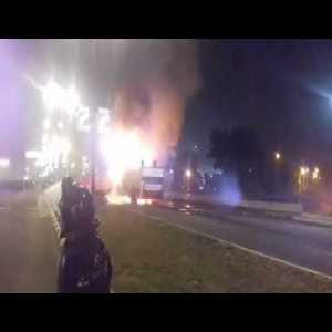 FC Red Star (Serbia) players bus catch fire while they were celebrating Title (Tour through the city, ended up 400m from their Stadium)