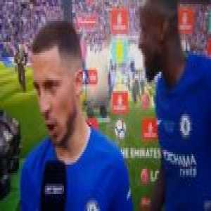 Post Match interview with Rüdiger and Eden on Hazard's future