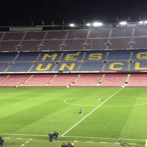 Iniesta still on the Camp Nou pitch at 1AM barefoot