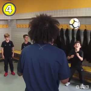 Marcelo plays keep-upies with the real Madrid youth team, taking after his son!