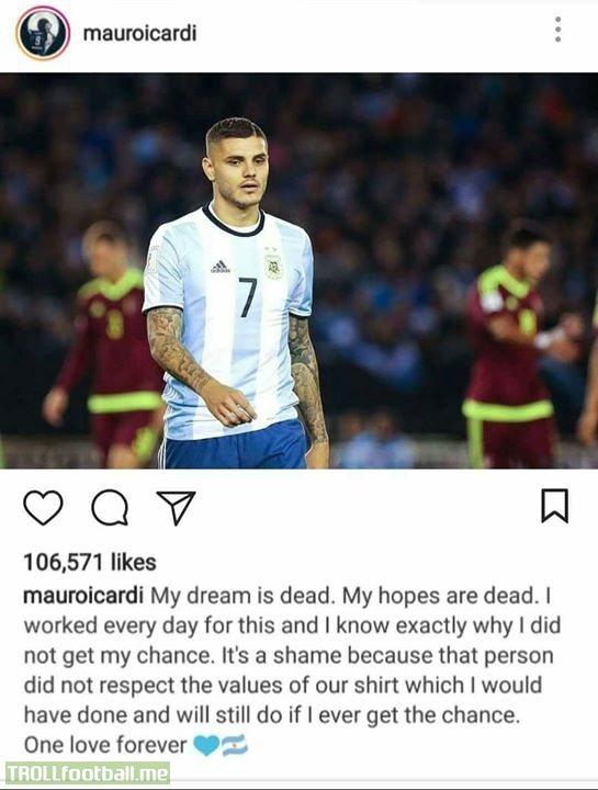 Marco Icardi On Instagram..  Really Heart Breaking!💔😭