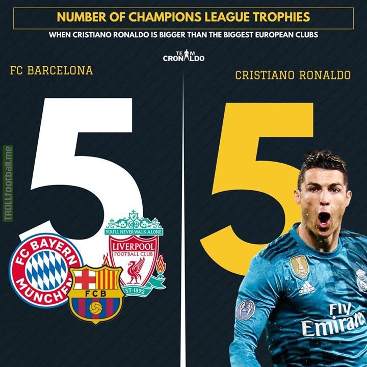 Cristiano Ronaldo now has the same amount of UEFA Champions League trophies as FC Barcelona.  Photo by @TeamCRonaldo