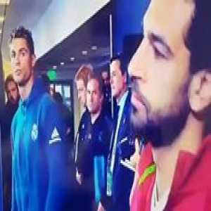 "Cristiano Ronaldo looking at Mohamed Salah like, ""wait till you see what my boy Sergio has planned."""