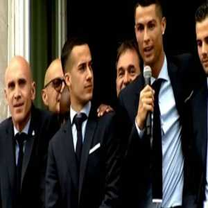 """Real Madrid fans chant """"Cristiano, stay!"""" during the team's victory celebrations in the Spanish capital"""