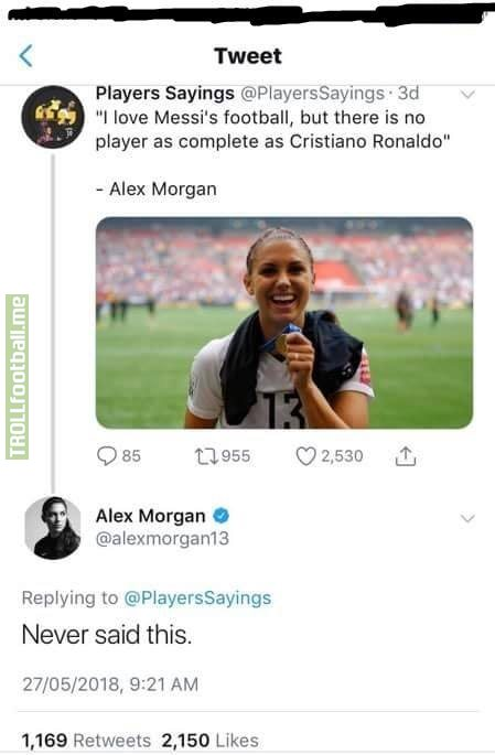 Totally savage from Alex Morgan 😂❤