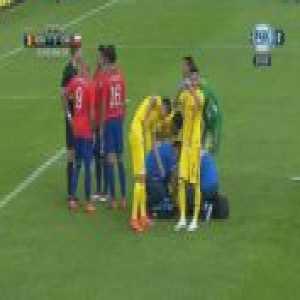 Nicolas Castillo (Chile) straight red card against Romania