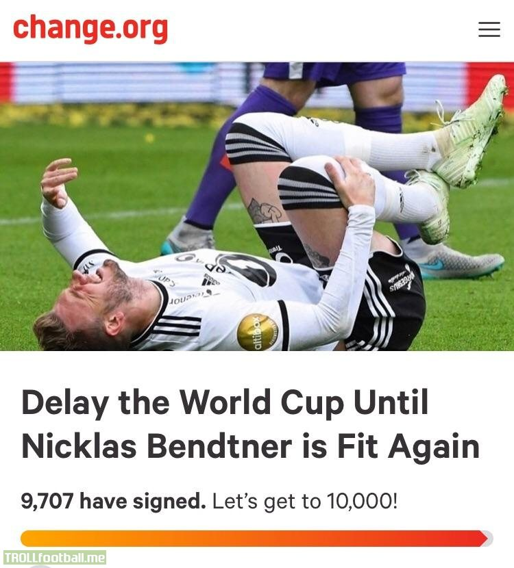 Petition to postpone the World Cup until Nicklas Bendtner is fit