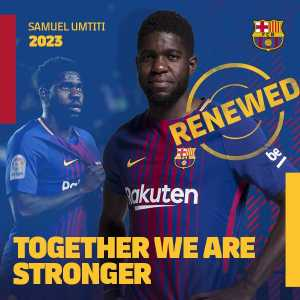We are delighted to announce @samumtiti has renewed his contract at @FCBarcelona until 2023!