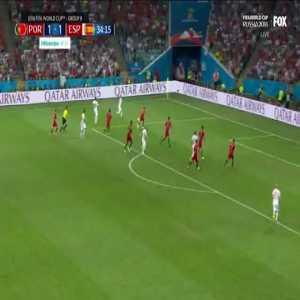 Iniesta's shot just wide vs Portugal