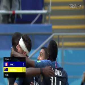 Fekir pokes Giroud in the eye while celebrating France's second goal