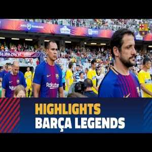 [Friendly] Barcelona Legends 2 - 0 Romania Legends. Hagi played for both teams and scored in Barcelona's shirt
