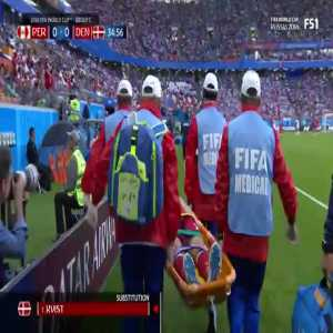 Kvist carried off the pitch on a stretcher, Schone subbed in