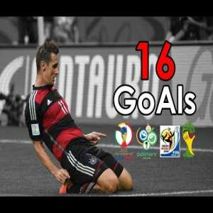 Miroslav Klose's record 16 goals in World cups