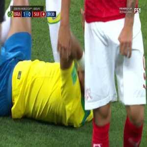 Head Shot Thiago Silva - Brazil 1 vs 0 Switzerland