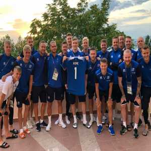 The Icelandic soccer team show support to Nigerias 24th player. Carl Ikeme who is battling cancer.