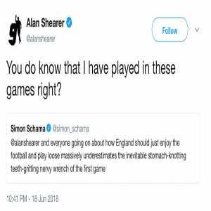 Disagreements you didn't expect to read, part 273. Former England footballer Alan Shearer vs historian Simon Schama. Shearer/Schama drama.