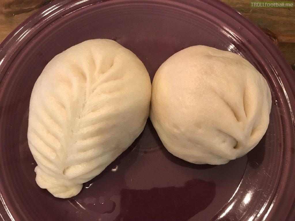 [i ate] a steamed spicy pork bun and a steamed veggie bun