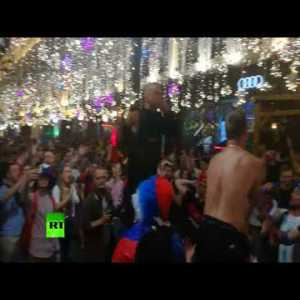 Celebrations in Moscow (Nikolskaya Street) after Russia's victory over Egypt (3-1)