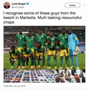 Lord Sugar's deleted racist tweet about the Senegal first team