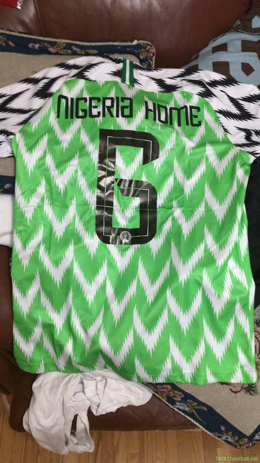 Orders Nigeria home jersey #6 from China...lol