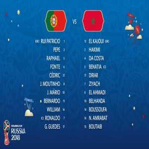 Portugal and Morocco line ups