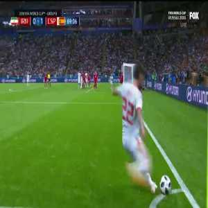 Scramble in front of goal for Spain