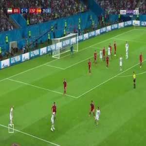 Silva Acrobatic Effort Is Over The Bar - Spain 0 vs 0 Iran