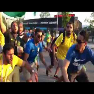 Brazilians fans making fun of Argentinians using the Paper Heist song.