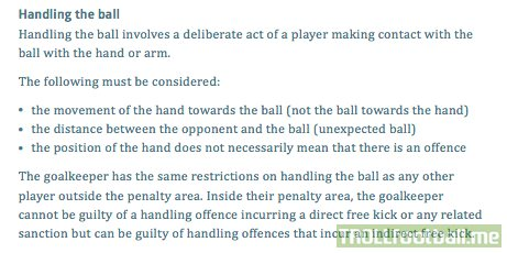 The Handball Rule (IFAB Laws of the Game 1 June 2018)