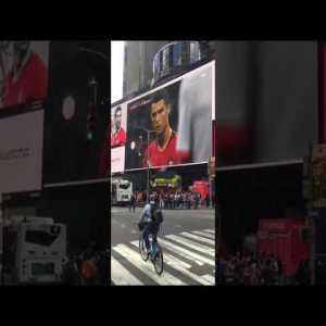 A view of the Ronaldo freekick goal against Spain from Times Square