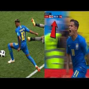 Crazy live reactions from the stadium as Coutinho & Neymar Score 90 minute goals