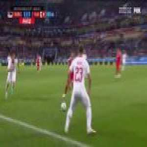 Shaqiri's curling shot hits the crossbar