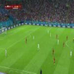 Spain pass back to the keeper following a free kick in order to regain structure in possession, subsequently inviting Iran to press high. After calmly playing through Iran's pressure, Spain have space to attack behind.