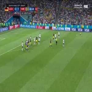 Brilliant play by Forsberg trying to catch Germany unaware. Great save by Neuer