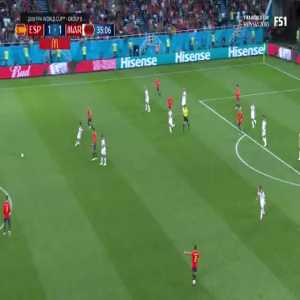 Great ball and anticipation by Isco to find Iniesta