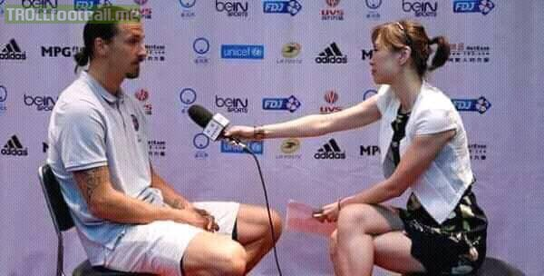 "Reporter: What's the difference between you and Messi?  Zlatan: ""Actually there's no difference, both of us have the same number of Goals in World Cup 2018."" 😂😂  Zlatan strikes again! 😂🔥"