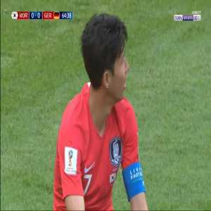 Heung-Min Son yellow card for diving against Germany 65'