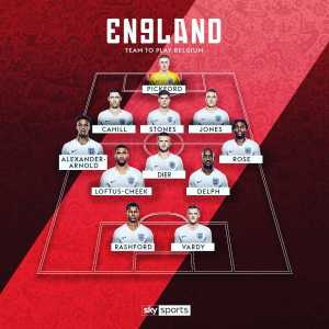 England and Belgium team sheets