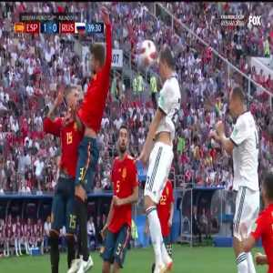 Pique yellow card for handball vs Russia