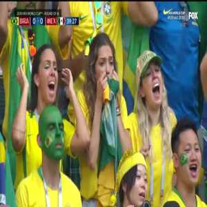 Brazilian babes watching Neymar's missed set piece in the 1st half
