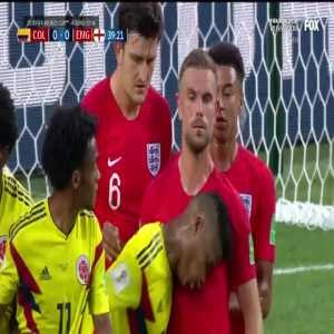 Barrios yellow card for headbutting Henderson (Colombia vs England)