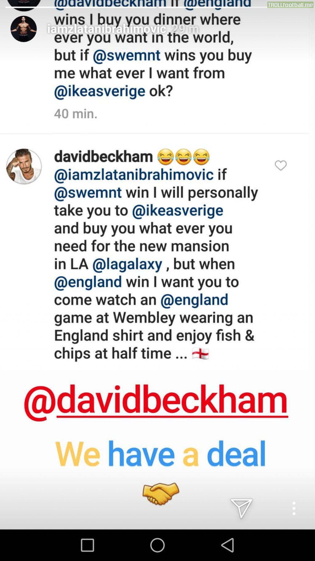 David Beckham responds to Zlatan's request.