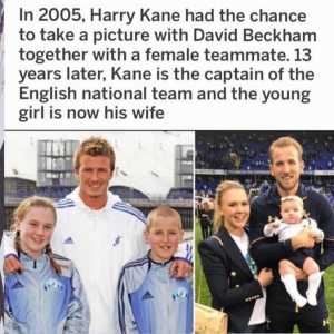 In 2005, Harry Kane had the chance to take a picture with David Beckham together with a female teammate. 13 years later, Kane is the captain of the English national team and the young girl is now his wife
