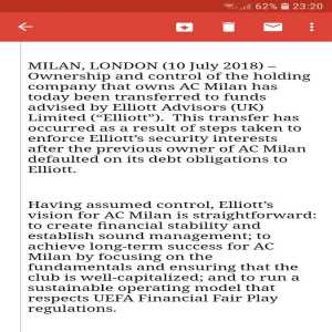 Elliott confirm Milan takeover; Will inject €50M into club