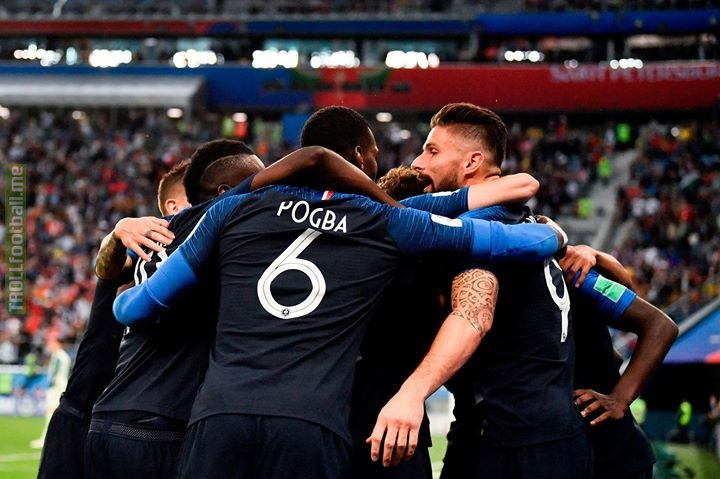 🇫🇷 France are going to a 3rd FIFA World Cup Final!  👏 Hugo Lloris, Olivier Giroud, Paul Pogba, N'Golo Kante, Benjamin Mendy 👏