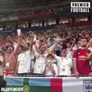 """England fan sing """"Don't Look Back in Anger"""" after full-time last night 👏🏼  🎥: Gary Lineker"""
